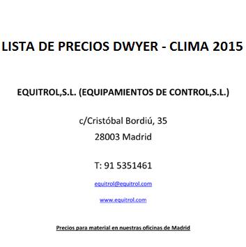 Lista de precios DWYER - CLIMA 2015